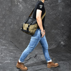 Canvas Leather Mens Army Green Postman Side Bag 14'' Black Messenger Bag Large Shoulder Bag For Men