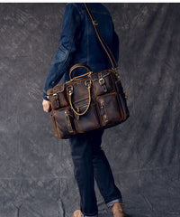 Canvas Leather Mens Womens Dark Coffee Travel Side Bag Messenger Bag Large Shoulder Bag For Men