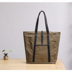 Canvas Leather Mens Womens Gray Tote Bag Handbag Tote Bag Shoulder Bag Tote Purse For Men