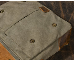 Canvas Leather Mens Womens Green Briefcase Side Bag Brown Messenger Bag Shoulder Bag For Men