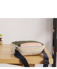 Canvas Leather Mens Womens Green Small 10'' Side Bag Blue Messenger Bag Small Courier Bag For Men