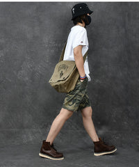 Washed Canvas Mens Large Brown Side Bag 14'' Army Green Messenger Bag Shoulder Bag For Men
