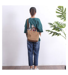 Canvas Leather Mens Womens Large White Handbag Tote Bag Khaki Shoulder Tote Purse For Men