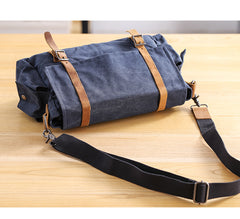 Waxed Canvas Leather Mens Waterproof 10'' Side Bag Courier Bag Blue Messenger Bag For Men