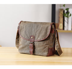 Canvas Mens Small Side Bag 10'' Courier Bag Black Postman Bag Messenger Bag for Men