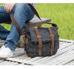 Canvas Mens 14'' Side Bag Courier Bag Gray Postman Bag Messenger Bag for Men