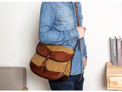Canvas Leather Mens Casual Khaki Shoulder Bag Saddle Courier Bag Side Bag Messenger Bag for Men