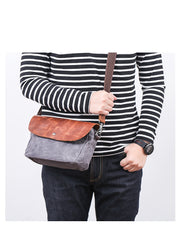 Leather Canvas Mens Small Side Bag Gray Courier Bag Postman Bag Messenger Bag for Men