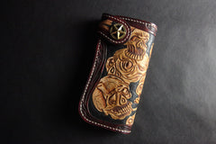 Handmade Skull Tooled Black Leather Mens Long Biker Wallet Biker Chain Wallet For Men