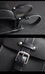 Black Handmade Brown Leather Mens Waist Bag Belt Pouch Phone Hip Bag For Men