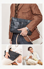 Casual Black Leather Mens 10'' Messenger Bag Brown Courier Bag Side Postman Bag For Men