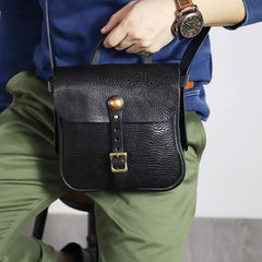 Casual Black Leather Mens Cool Square Side Bag Messenger Bag Vertical Brown Small Postman Courier Bag for Men