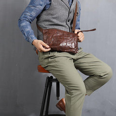 Casual Green Leather Mens Small Side Bag Messenger Bag Brown Post Bag Courier Bags for Men