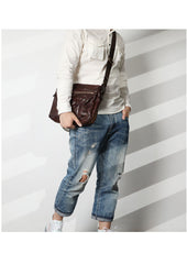 Casual Black Leather Mens Cool Side Bags Messenger Bag Brown Postman Courier Bags for Men