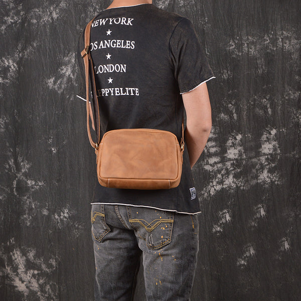 Casual Leather Mens Brown Side Bag Small Messenger BAG Brown Courier Bag FOR MEN
