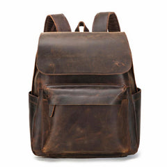 Best Brown Mens Leather 14 inches School Backpack Travel Backpack Top Computer Backpack For Men