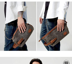 Waxed Canvas Leather Men's Clutch Purse Navy Blue Casual Clutch Bag Hand Bag For Men