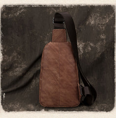Casual Brown Sling Bag LEATHER MENS Sling Pack One Shoulder BackPack FOR MEN