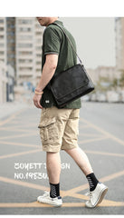Cool Black Leather Mens 10 inches Courier Bags Coffee Brown Messenger Bags Postman Bag For Men