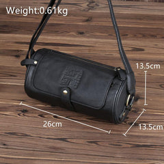 Casual Black Leather Mens Barrel Postman Bag Side Bag Bucket Messenger Bag For Men