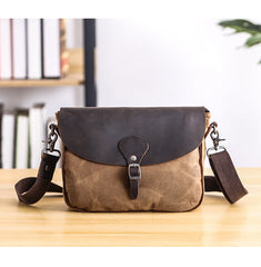 Waxed Canvas Leather Mens 10'' Khaki Side Bag Shoulder Bag Messenger Bag for Men