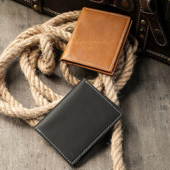 Casual Mens Black billfold Card License Wallet Brown Bifold Card Wallet Card Holder For Men