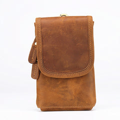 Casual  Brown Leather Cell Phone HOLSTER Belt Pouch for Men Waist Bags BELT BAG For Men
