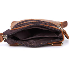 Vintage Leather Men's Belt Pouch Cell Phone Holster Brown Mini Side Bag For Men