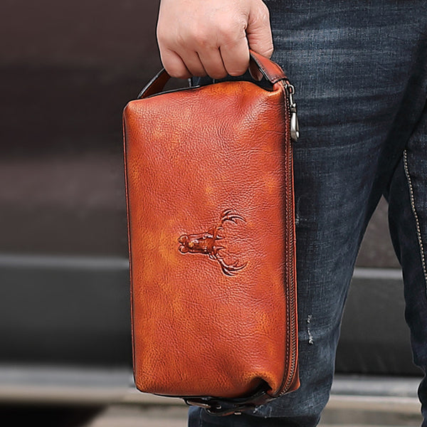 Cool Brown Black Leather Men's Clutch Bag Clutch Purse Business Handbag For Men
