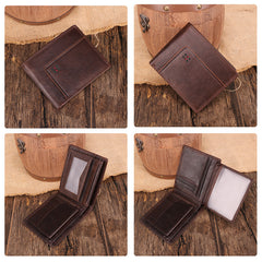 Chocolate Bifold Leather Mens Small Wallet Short Wallet Driver's License Wallet for Men