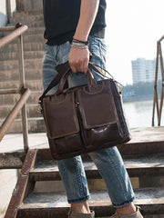 Cool Coffee Leather Mens 13 inches Vertical Briefcase Side Bag Messenger Bags Work Bags Courier Bag for Men