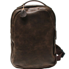 Coffee Leather Mens Backpacks Travel Backpacks Laptop Backpack for men