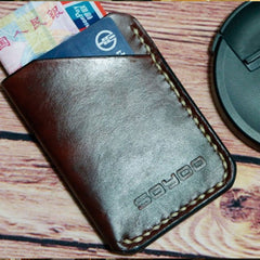 Coffee Leather Mens Slim Front Pocket Wallets Leather Card Wallet for Men