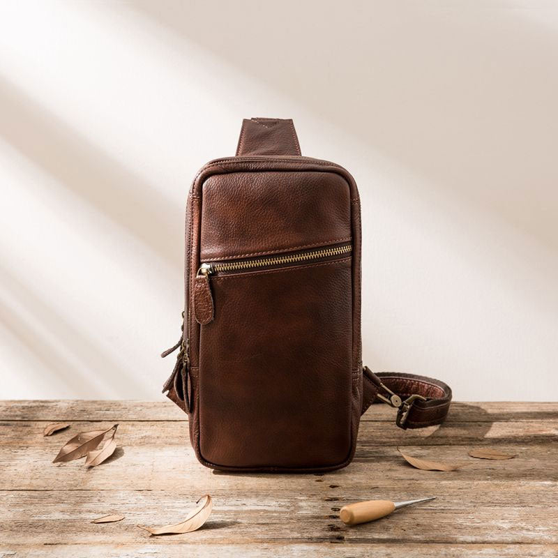9324eac0299b Previous. Next.  109.00 109.00. Overview:. Design  Coffee Leather Mens  Sling Bag Sling Shoulder ...