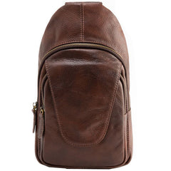Coffee Leather Mens Sling Bag Sling Shoulder Bags Sling Backpacks for men