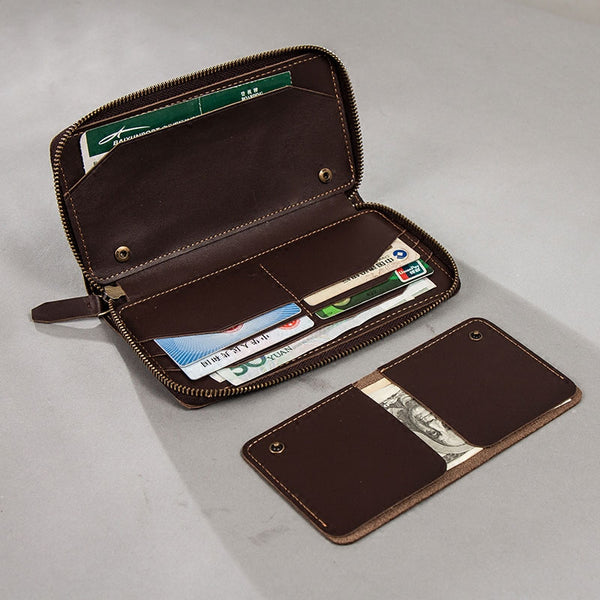 Coffee Leather Mens Zipper Travel Wallet Passport Wallet Clutch Wallets for Men
