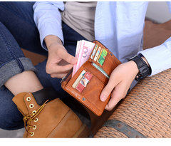 Cool Brown Leather Mens Bifold Small Wallets Black billfold Wallet Front Pocket Wallet For Men