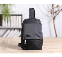 Cool Black Nylon Backpack Men's Sling Bag Chest Bag Black One shoulder Backpack Sling Pack For Men