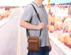 Brown Leather Small Waist Bag Belt Pouch Vertical Mini Shoulder Bag Belt Bag Side Bag For Men