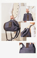 Waxed Canvas Leather Mens Large Backpack Canvas Travel Backpack Barrel Travel Backpacks for Men