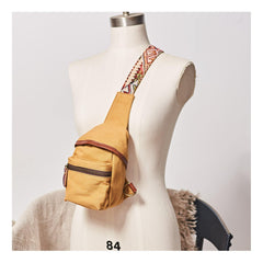 Western Canvas Mens Womens Small Sling Bag Canvas Sling Backpack Sling Pack One Shoulder Pack for Men and Women