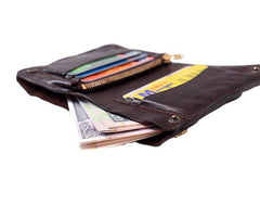 Cool Coffee Leather Mens Vertical Bifold Small Wallet Front Pocket Bifold billfold Wallet For Men