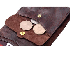 Vintage Coffee Leather Mens Envelope billfold Small Wallet Front Pocket Bifold billfold Wallet For Men