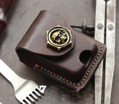 Cool Skull Brown Leather Mens Holster Zippo Lighter Cases Standard Zippo Lighter Holder Belt Clip For Men