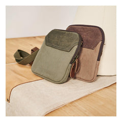 Cool Canvas Mens Mini Side Bag Small Vertical Messenger Bags Courier Bag for Men