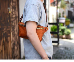 Cool Light Brown Leather Men Chest Bag Waist Bag Tan Fanny Pack Hip Bag Bum Pack For Men