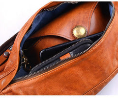 Cool Light Brown Leather Men Chest Bag Waist Bags Tan Fanny Pack Black Hip Bag Bum Pack For Men