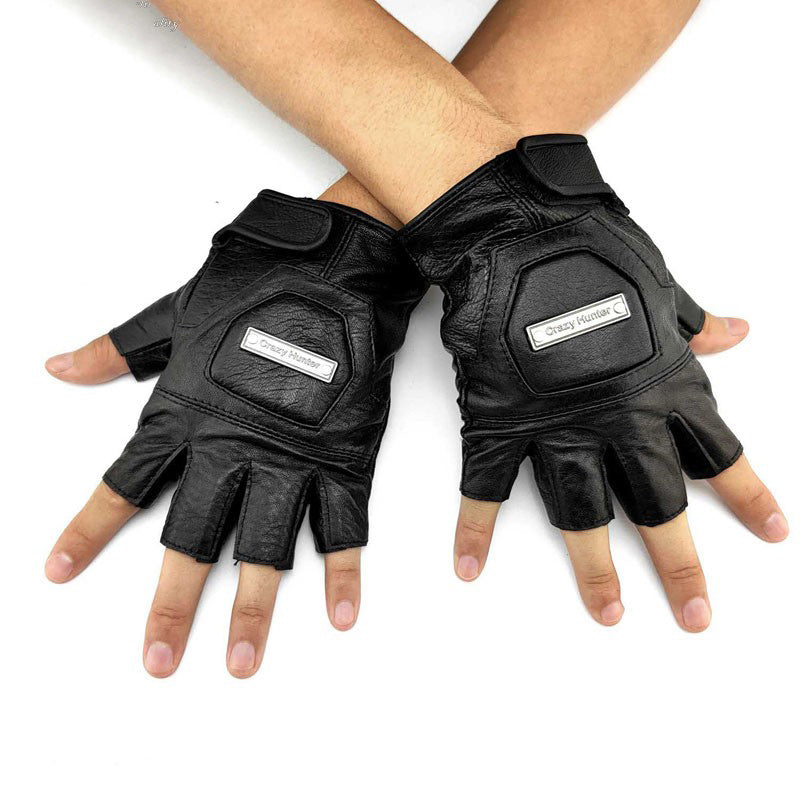 Mens Black Leather Half-Finger Sports Gloves Rock Gloves Cool Black Motorcycle Gloves Biker Gloves For Men
