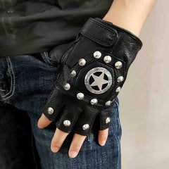 Cool Mens Black Star Leather Half-Finger Rock Gloves Motorcycle Gloves Black Biker Gloves For Men