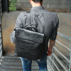 Cool Black Mens Leather Backpack Travel Backpacks Laptop Backpack for men